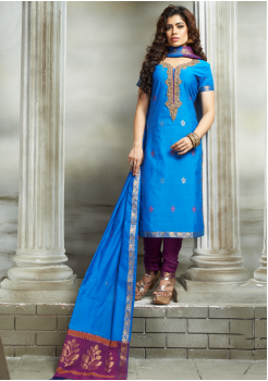 Blue with Purple Color Designer Party Wear Suit