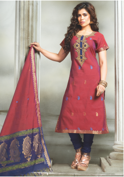 Pink with Blue Color Designer Party Wear Chudidar
