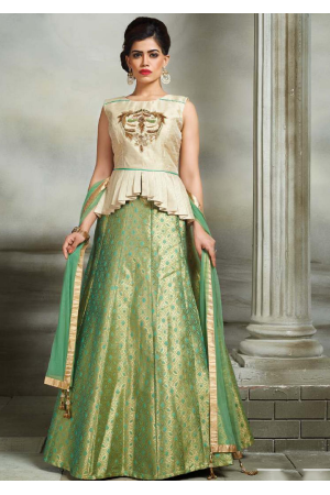 Off White with Green Color Designer Lehenga Choli