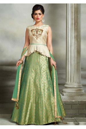 Off White with Green Color Designer Lehenga Choli
