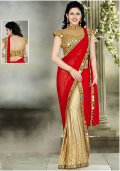 Red with Golden Color Silk  Designer Saree