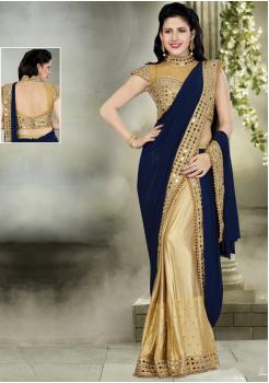 Blue with Golden Color Silk  Designer Saree