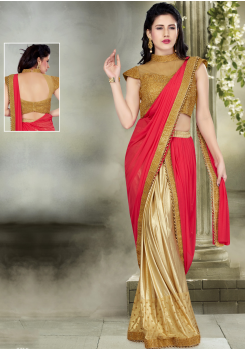 Tomato Red with Golden Color Silk  Designer Saree