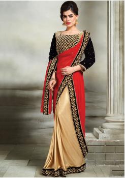 Red with Black Color Silk  Designer Saree