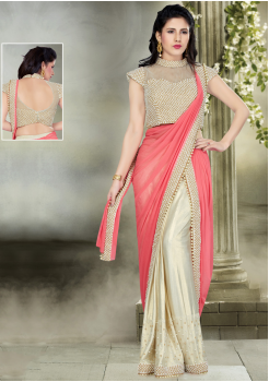 Pink with Off White Color  Designer Saree
