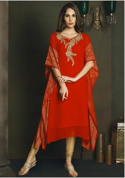 Designer Red Color Chiffon Kurti