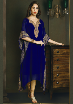 Pretty Royal Blue Color Chiffon Kurti