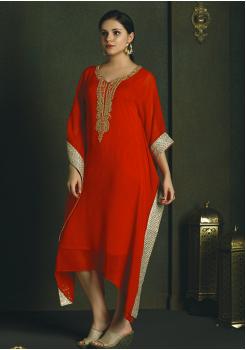 Beautiful Red Color Chiffon Kurti