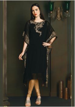 Pretty Black Color Chiffon Kurti