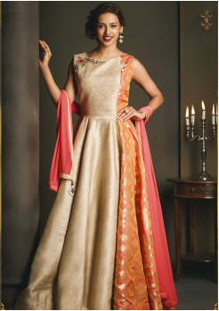 Cream with Orange Color Designer Party Wear Gown