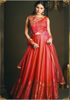 Red Color Designer Party Wear Gown