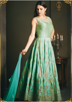 Designer Green Color Party Wear Gown