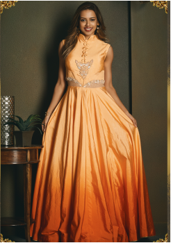 Orange Color Designer Party Wear Gown