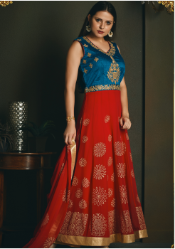 Red with Blue Color Designer Party Wear Gown