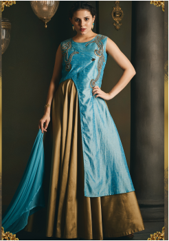 Sky blue with Golden Color Designer Party Wear Gown
