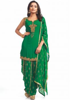 Green color  Party Wear Designer Suit