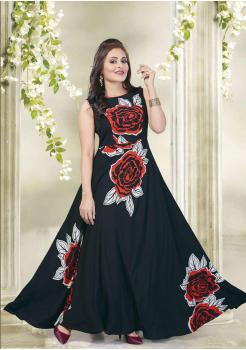 Designer Black with Multi Color Party Wear