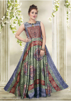 Designer Ink Blue with Multi Color Party Wear