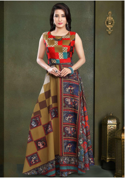 Designer Brown with Multi Color Party Wear