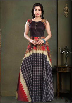Designer Brown with Red Color Party Wear