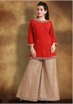 Candy Red Color Georgette Designer Kurti