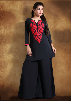 Black with Red printed Color Georgette Designer Kurti
