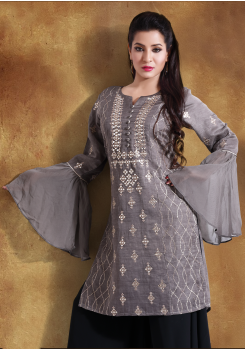 Grey with Black Color Georgette Designer Outfit