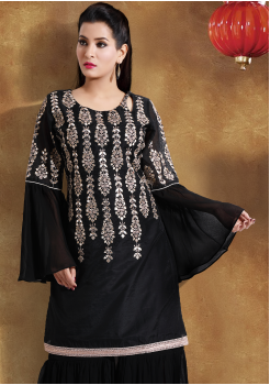 Black with Golden Color Georgette Designer Outfit