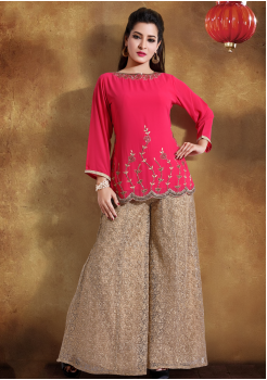 Peach with Golden printed Color Georgette Designer Kurti