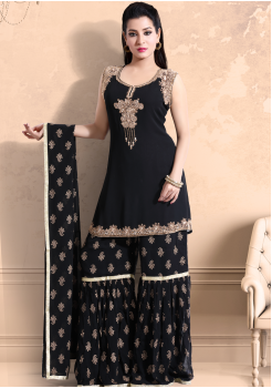 Black Color Georgette Designer Kurti