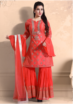 Peach Orange Color Georgette Designer Kurti