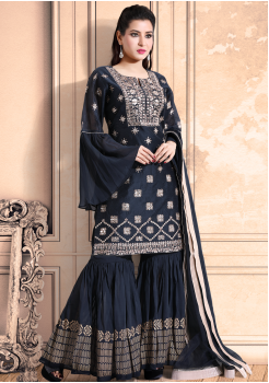 Dark Black Color Georgette Designer Kurti