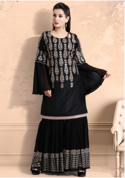 Black with Golden printed Color Georgette Designer Kurti