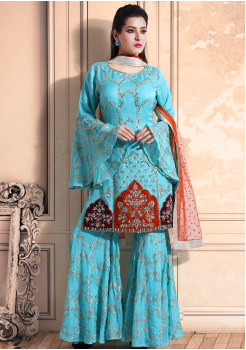 Sky Blue Color Georgette Designer Kurti