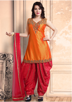 Orange Color Georgette Designer Salwar Suit