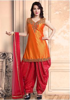 Orange Color Georgette Designer Salwar Suit