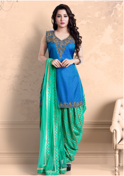 Blue with Green Color Georgette Designer Salwar Suit