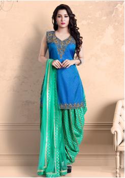 Blue with Green Color Georgette Designer Salwar Suit