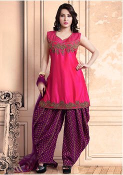 Pink with Majanta Color Georgette Designer Salwar Suit