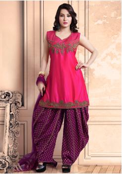 Pink with Majanta Color Georgette Designer Salwar Suit