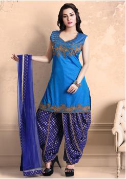 Sea Blue  Color Georgette Designer Salwar Suit