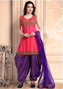 Rose Red with Purple Color Georgette Designer Salwar Suit