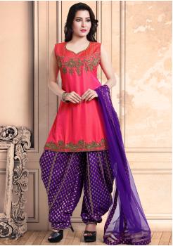 Rose Red with Purple Color Georgette Designer Salwar Suit