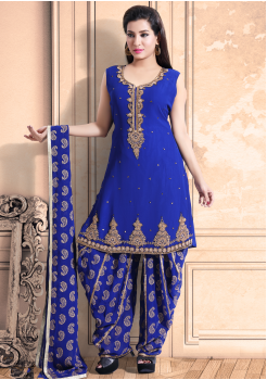 Azure Blue Color Georgette Designer Salwar Suit