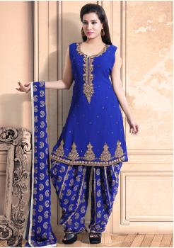 Azure Blue Color Georgette Designer Salwar Suit