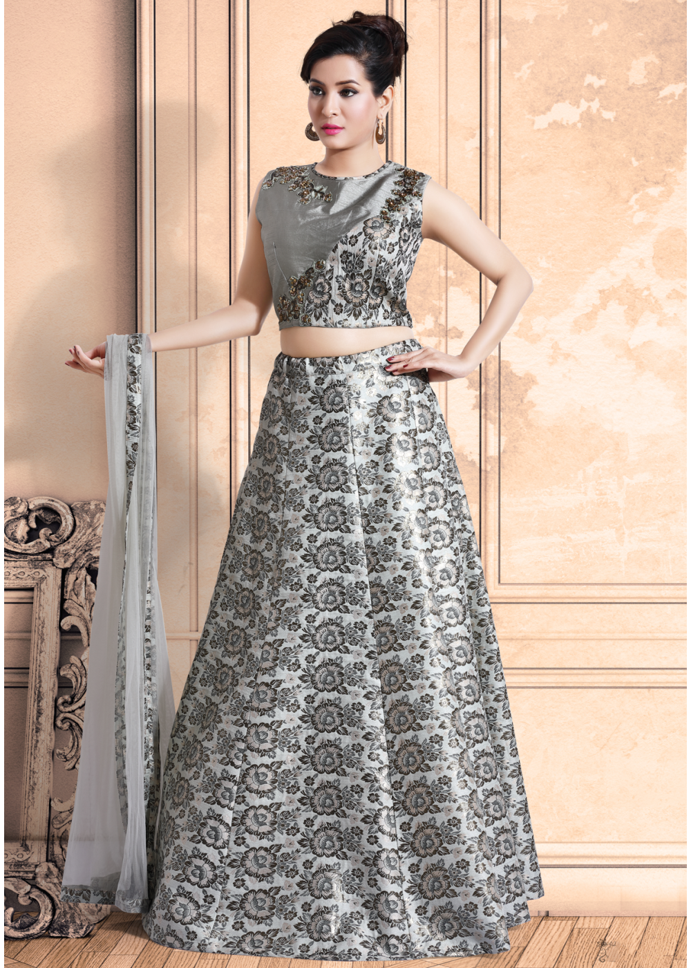83baac30c6 Silver Grey Color Party Wear Lehenga Choli