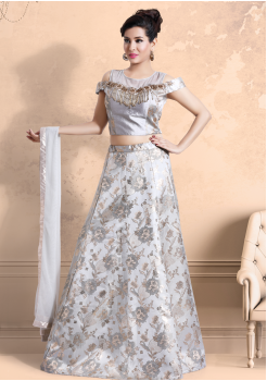White Color Party Wear Lehenga Choli