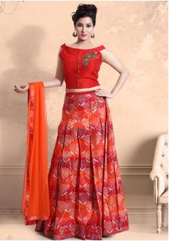 Red with Orange Party Wear Lehenga Choli