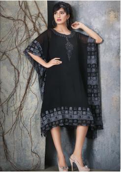 Black with Grey Color Designer Viscose Kurti