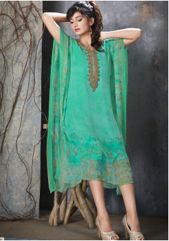 Light Green Color Designer Chiffon Kurti